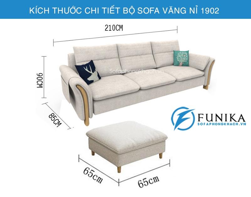 kích thước chi tiết sofa văng 1902