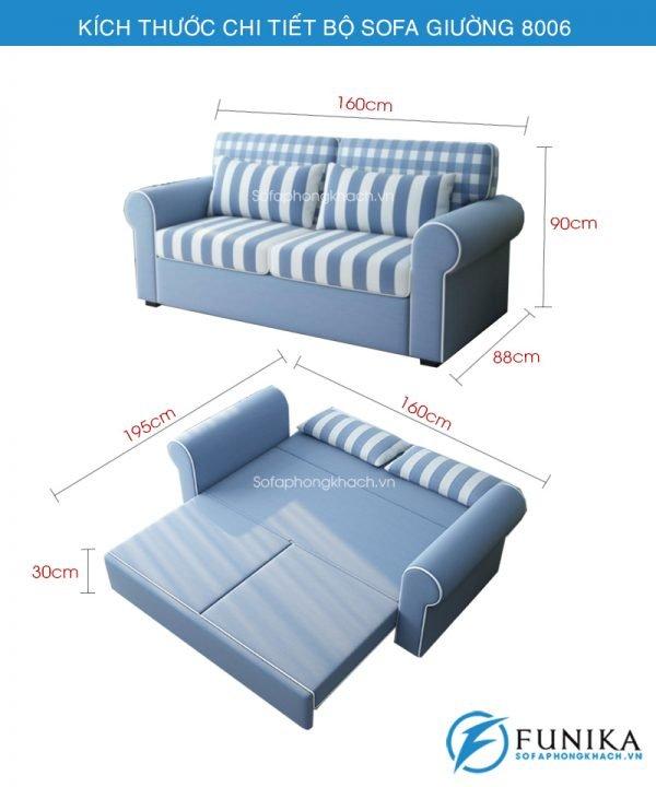 kích thước sofa giường đẹp 8006