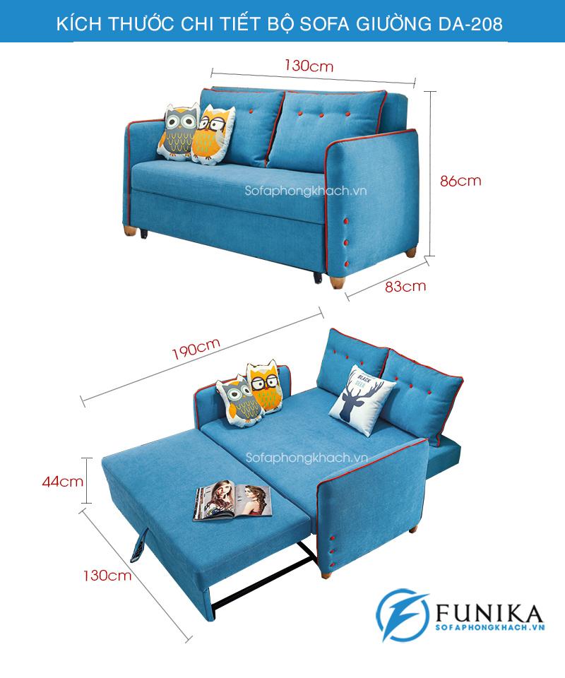 kích thước sofa giường đẹp DA-208-1