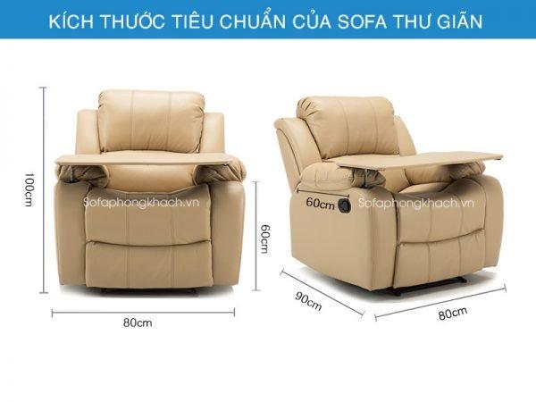 Kích thước tiêu chuẩn sofa thư giãn