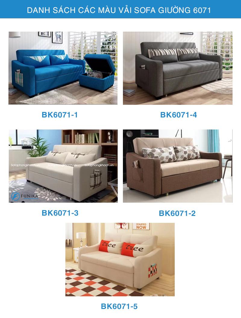 Bảng màu vải sofa giường 6071