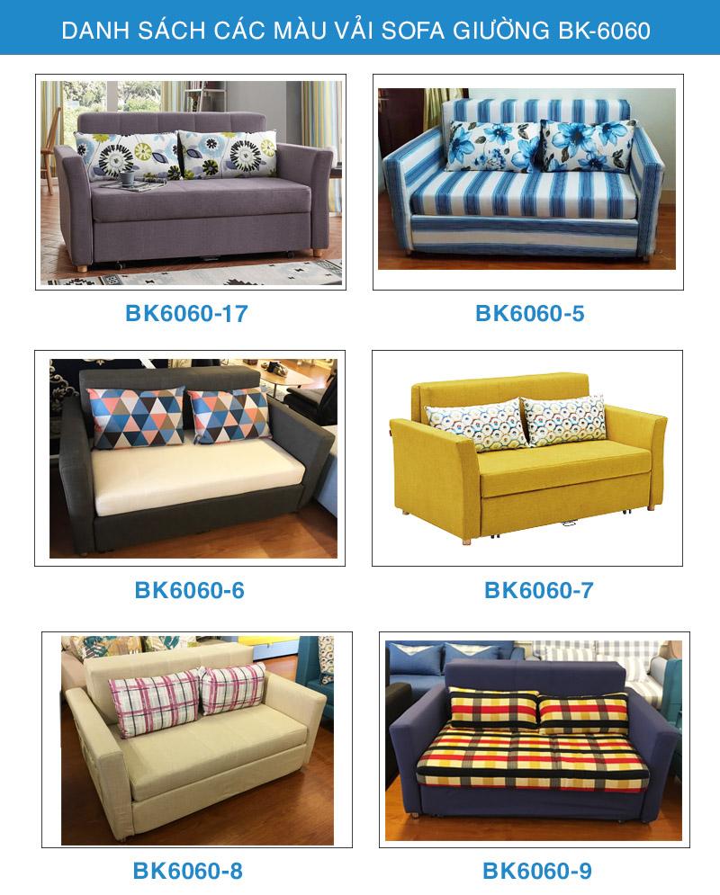 Bảng màu vải sofa giường BK-6060