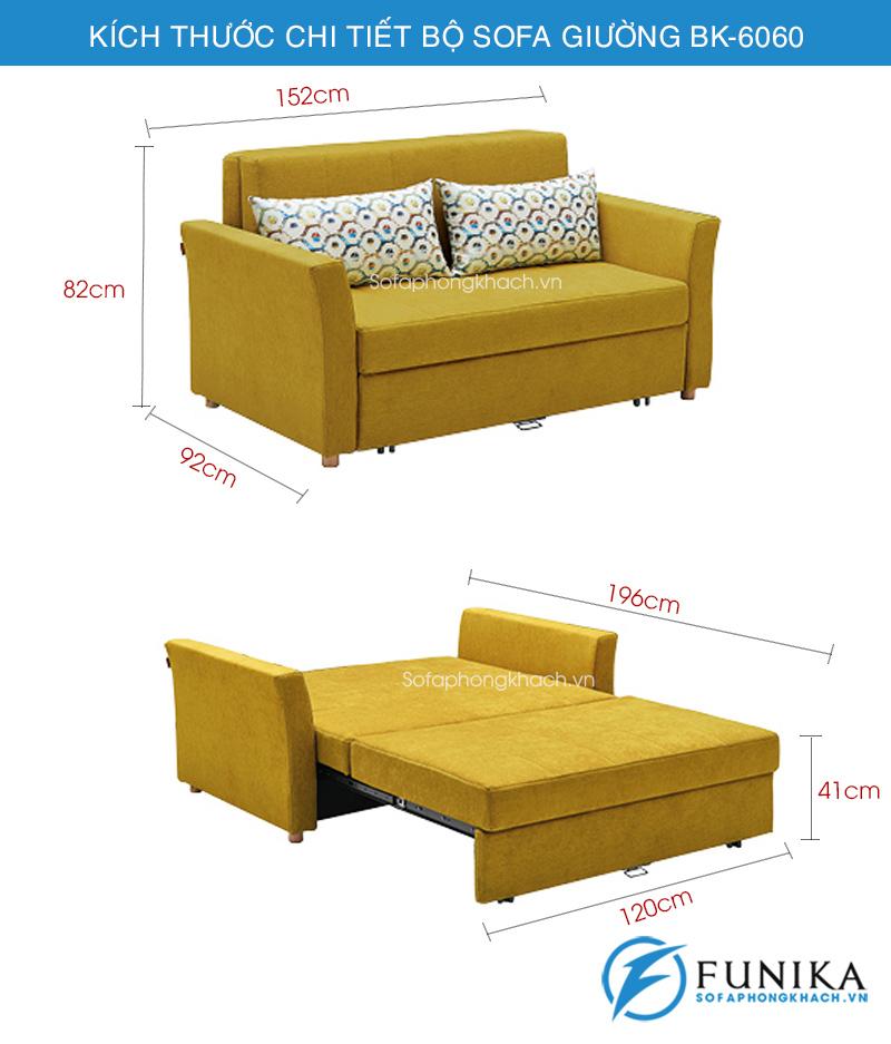 Kích thước sofa giường BK-6060