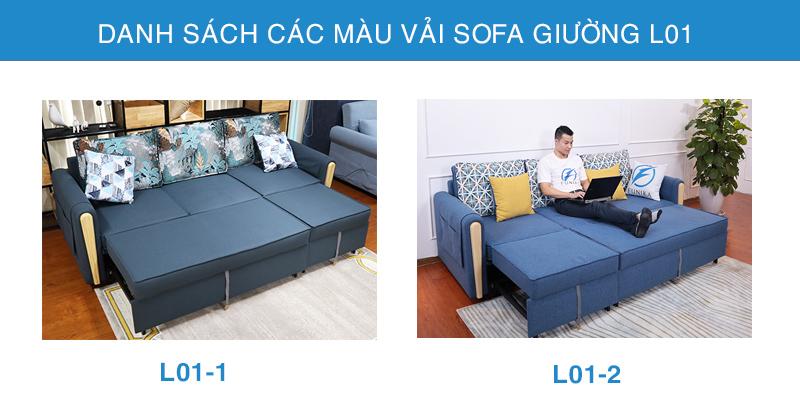 Bảng màu vải Sofa giường L01
