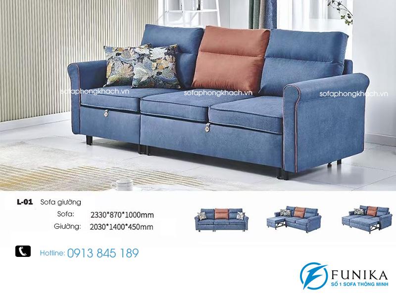 Sofa giường L01 biến thành giường ngủ.