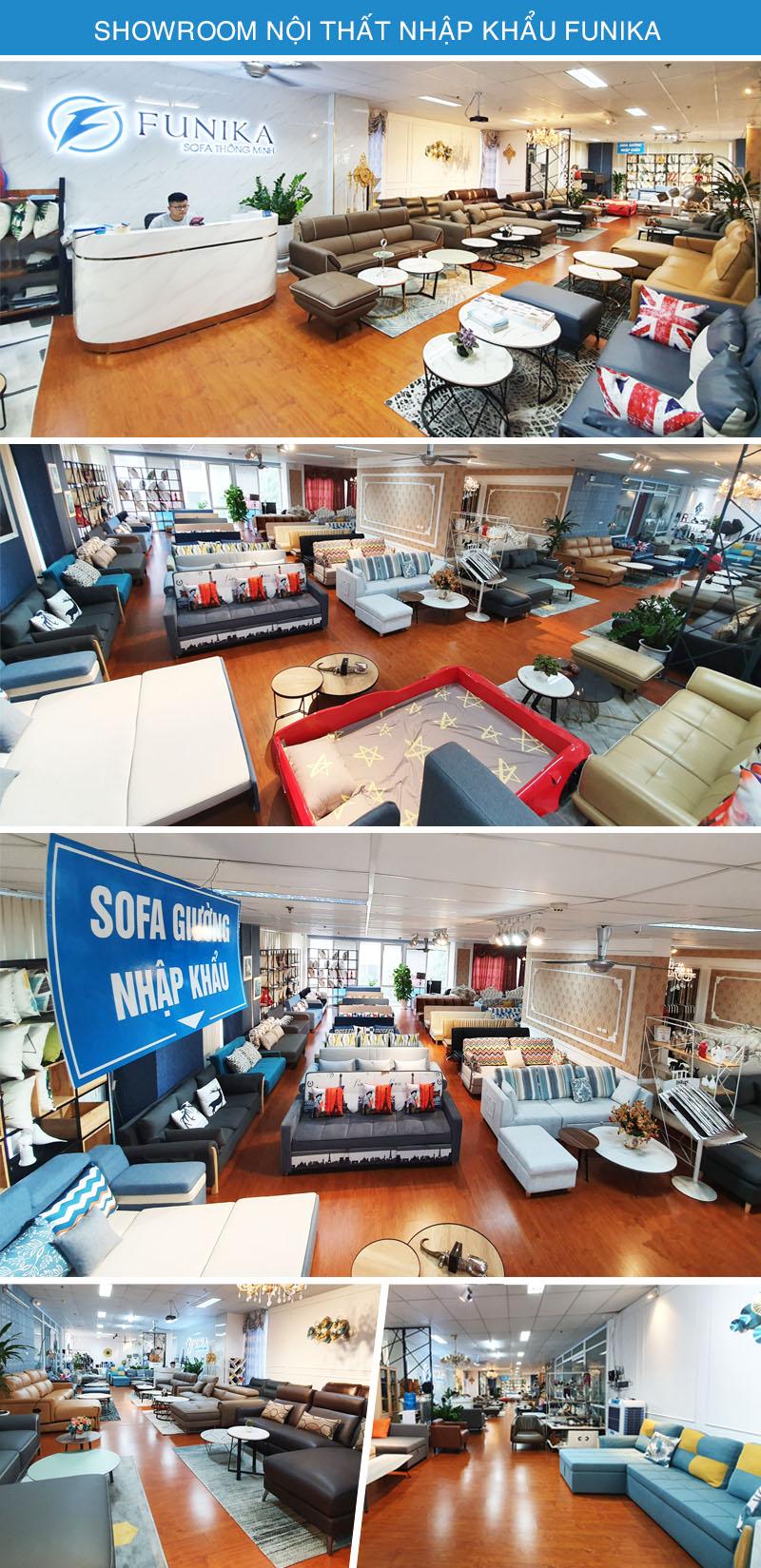 Hình ảnh showroom Funika Hà Nội nơi trưng bày hàng trăm mẫu sofa giường nằm