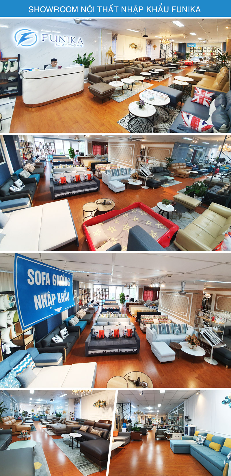Hình ảnh showroom Funika với hơn 100 mẫu sofa giường