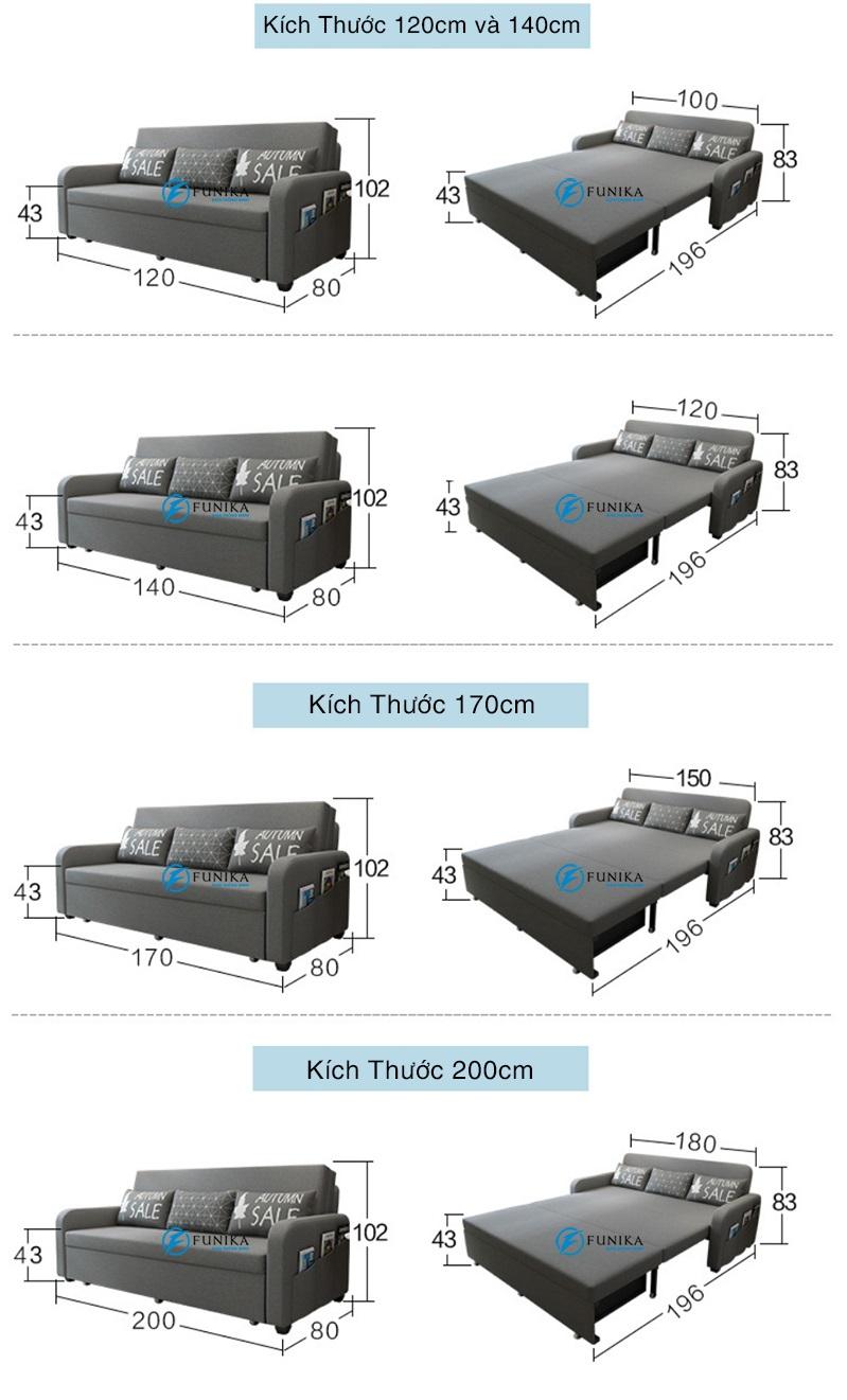 Sofa giường Hải Phòng có nhiều kích thước