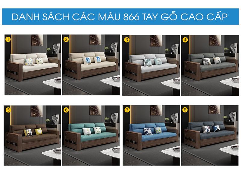 Bảng màu sofa giường gỗ 866 cao cấp
