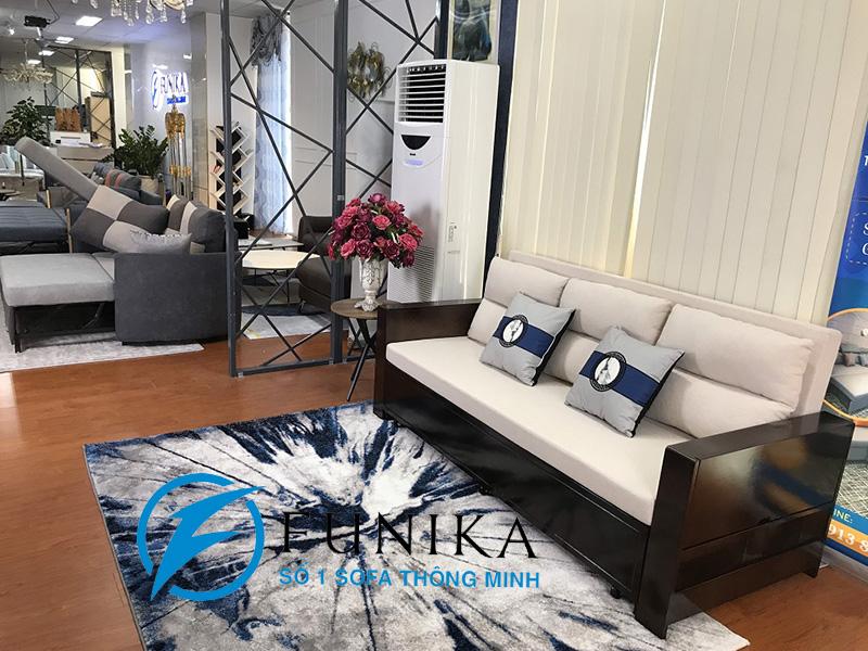sofa giường 866 tay gỗ cao cấp khi ở trạng thái sofa