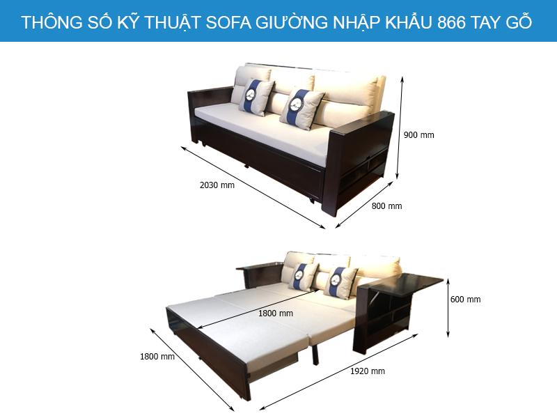 Kích thước chi tiết sofa giường 866 tay gỗ