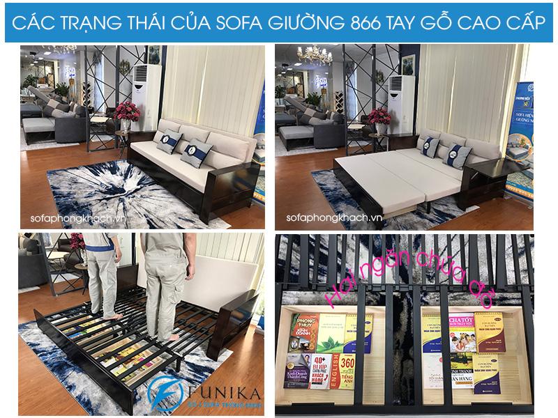 Các trạng thái của sofa giường 866 cao cấp tay gỗ