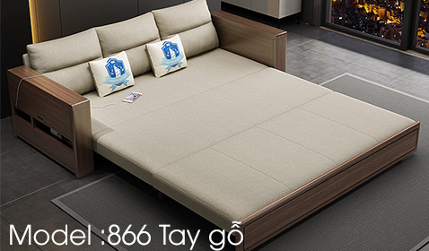 Sofa giường 866 tay gỗ