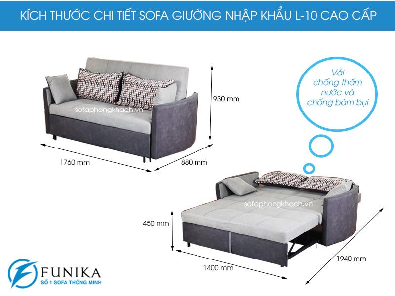 Kích thước chi tiết sofa giường nhập khẩu L10