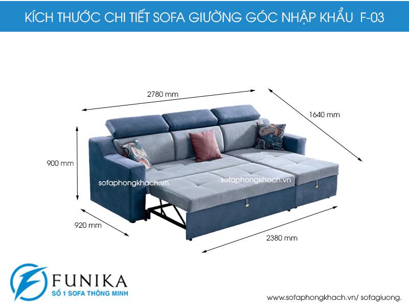 kích thước chi tiết sofa giường góc F03 nhập khẩu.