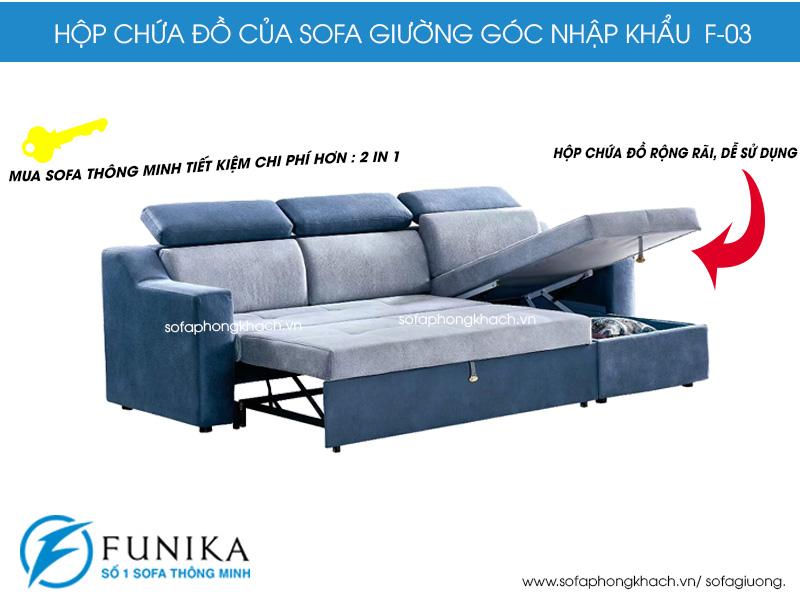 Ghế sofa giường F03 có khả năng cất giữ đồ đạc