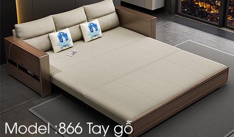 Sofa giường tay gỗ tích hợp bàn thông minh tiện dụng