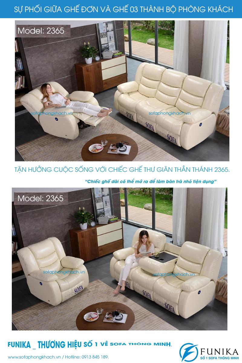 Sự kết hợp giữa ghế đơn và ghế ba của sofa thư giãn 2365 cao cấp.