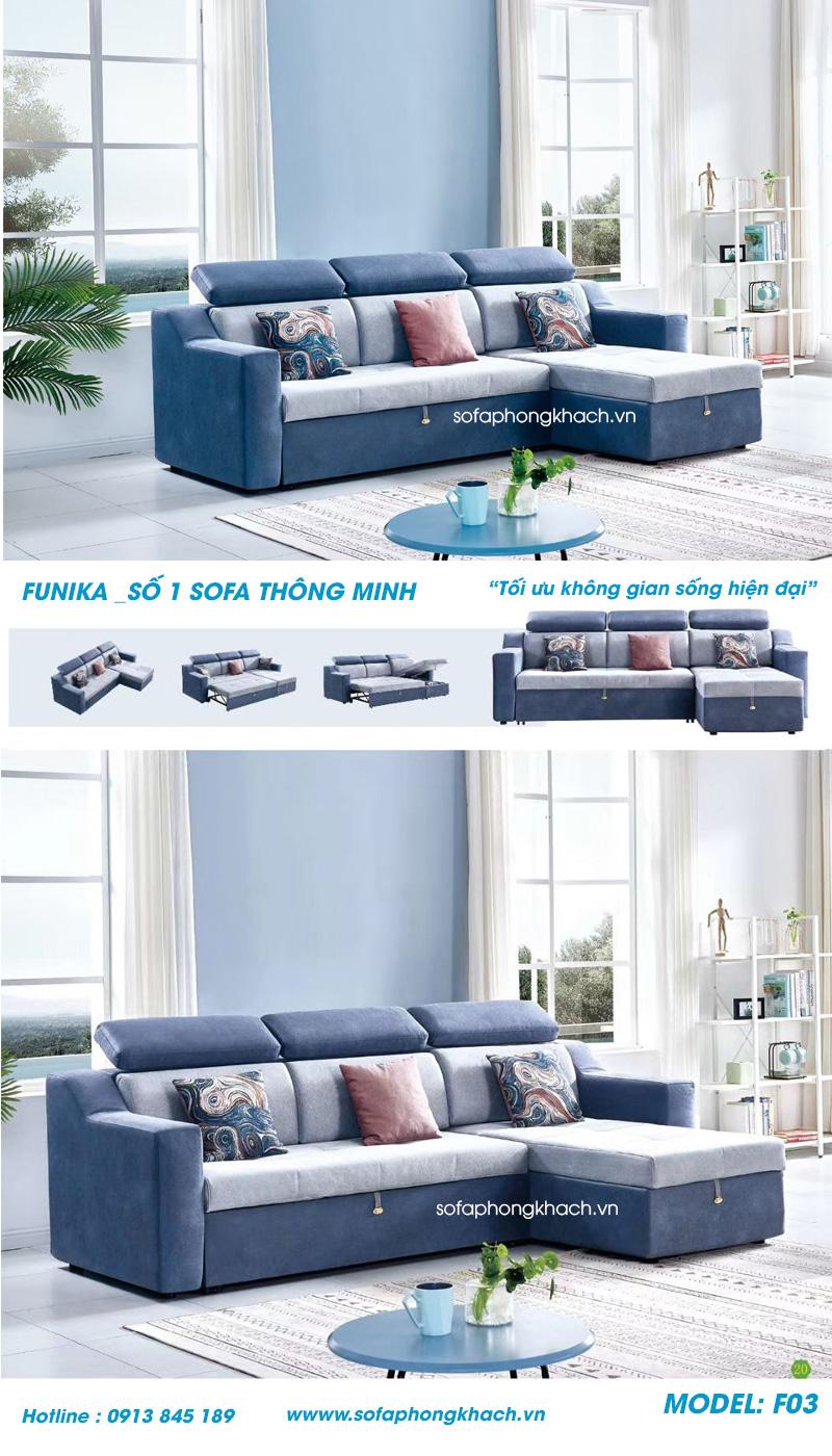 các trạng thái của sofa giường F03 cao cấp của Funika