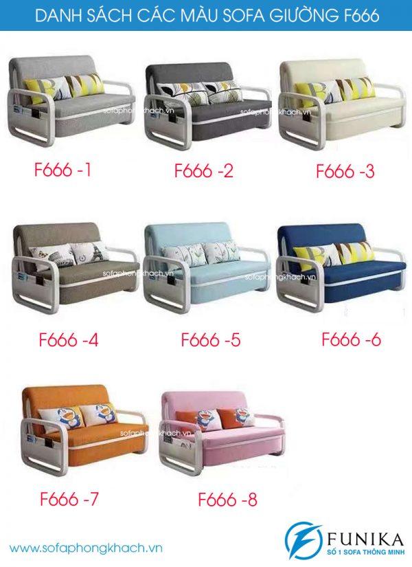 Danh sách các màu sofa giường nằm F666