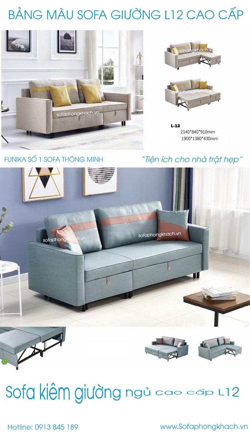 Bảng màu sofa giường cao cấp L12