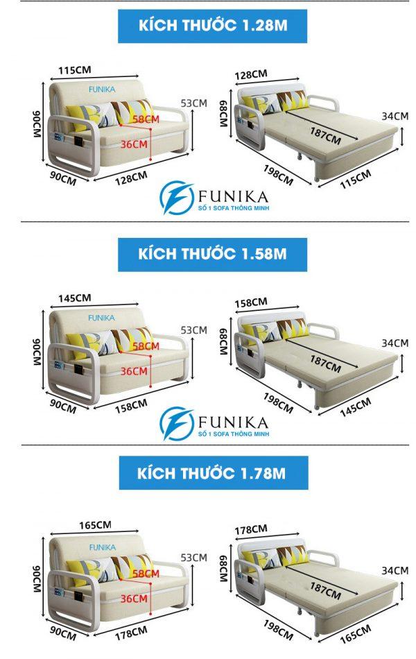 các kích thước sofa giường nằm F666