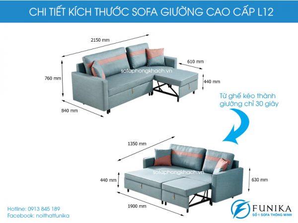 Kích thước sofa giường cao cấp L12